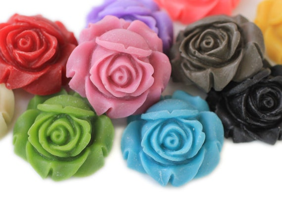 4pc you choose matte rose 25mm resin flower cabochons, great for making pendants, 9 colors