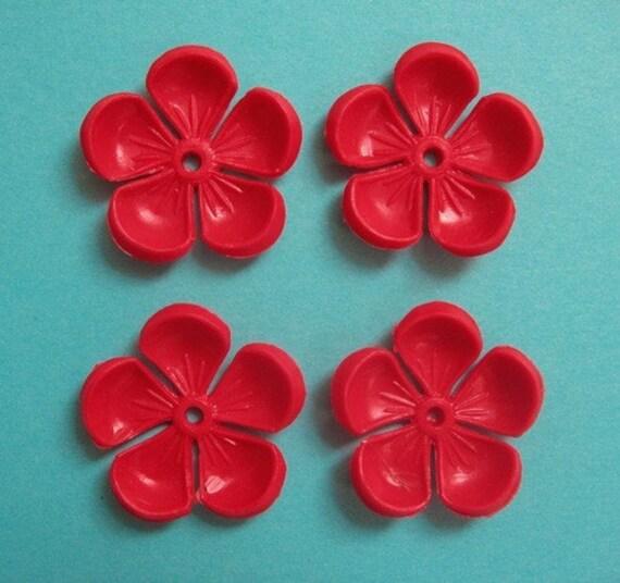 4 Vintage Red 5-petal Plastic Flower Beads