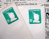 Vintage Green and White Statue of Liberty Embossed Stamped Envelopes (2) - 6 cents