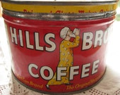Vintage 1950s Hills Bros Coffee Tin with Lid, Red Tin