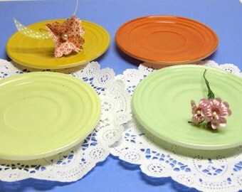 Vintage Moderntone Little Hostess Toy Dishes, Set of Four, Tangerine and Mint