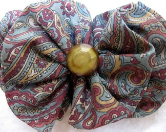Victorian Inspired Hair Bow with Vintage Celluloid Button and French Clip