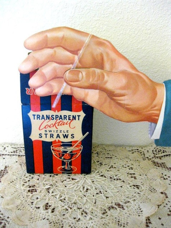 Reserved for MODPOP66 - Vintage Complete Box of Transparent Cocktail Swizzle Straws, Approx 400, Great 50s Martini Graphics, Barware Collectible