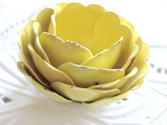 Vintage Trifari Yellow Rose Brooch, Signed