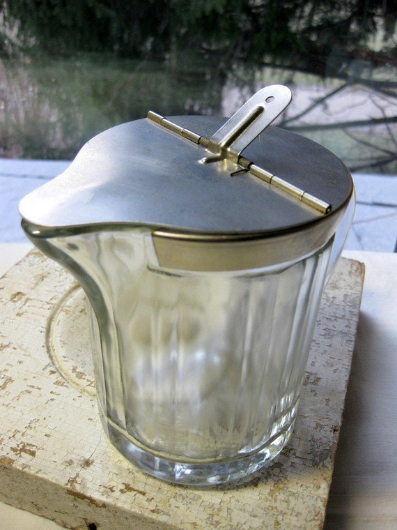Vintage 1950s Large Ribbed Glass Milk Or Syrup Pitcher With