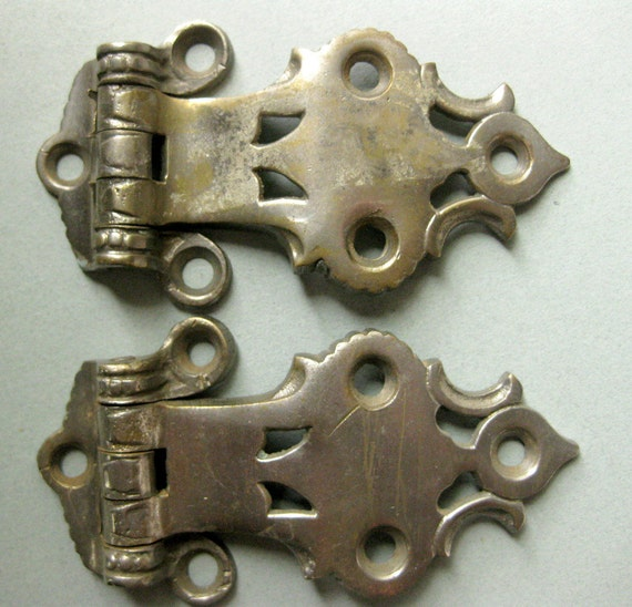 Vintage Ornate, Industrial Weight Steel Hinge Hardware for Ice Box (TWO) - Woodworking, Metal Assemblage, Mixed Media