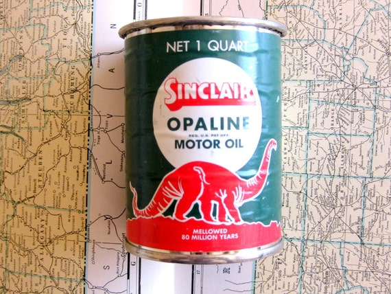 Vintage Motor Oil Tin Bank Sinclair Opaline Collectible
