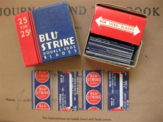 Early 20th Century Blu Strike double Edge Blades in Original Box - NOS, Display, Collectible - T