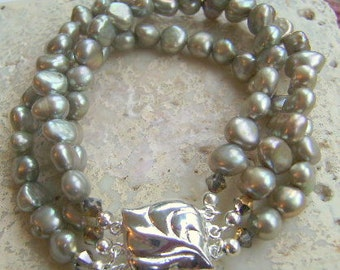 Taupe Green Fresh Water Pearl Triple Strand Bracelet
