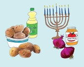 Hanukkah Potato Latkes Card Set