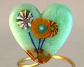 Green Flower Heart Lampwork SRA