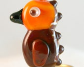 Totem Bird Handmade Lampwork Glass Burnt Wood Beads SRA