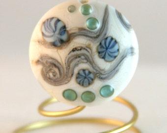 Beachy Blues Lentil Handmade Glass Bead Set BWB