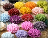 Resin Cabochons - 40pcs Flower Cabochons- 22mm - Mix and Match Your Choice of Colorful Resin Flowers - 22RF