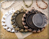 Vintage Setting Pack - 10 Blank Settings, 10 Glass Domes, 10 Necklaces - Antiqued Bronze Brass Cabochon Setting Pendant Trays