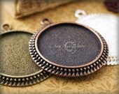 10 - 25mm Vintage Settings - Mix and Match - Antiqued Cabochon Setting Pendant Tray Blanks - 25VS
