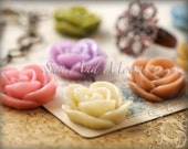 Resin Cabochons - 20pcs - 20mm Vintage - Rose Flower Cabochons - Mix and Match Roses Your Choice of Colorful Resin Flowers - 20VR