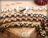 40 Necklaces - Rolo - Antique Brass Chain - Mix and Match Any - Antique Bronze Chain, Antique Copper Chain, Silver Chain, Gunmetal Chain