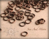 100 pcs of Antiqued Copper Jumprings - 4mm Jump Rings
