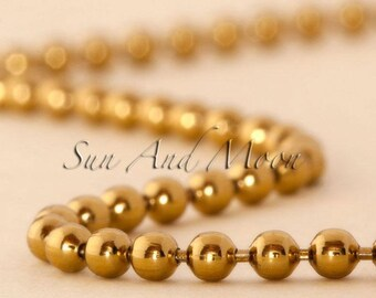 10 Vintage Gold Plated Colored Metal Ball Chain Necklaces ~ 2.4mm HIGH QUALITY ~ Use w Our Bronze Pendant Settings