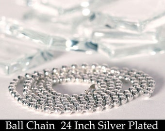 100 Silver Plated Ball Chain Necklaces with Connectors - 24 Inch Necklaces - Bead Chain For Scrabble Tiles, Glass Tile and Bottle Caps