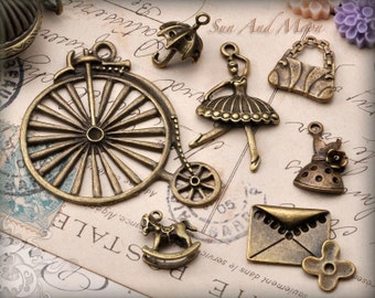 Vintage Style Charms and Pendant Sets - 7 Unique Pieces in Antique Finish