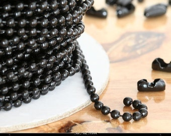 Black Colored Ball Chain Spool - 100 Foot Spool - 1.5mm, Perfect For Wooden Scrabble Tiles, Glass Tile, Domino and Bottle Caps