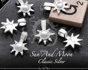 100 Sun And Moon Bails - Small Silver Plated Bails - SSBS