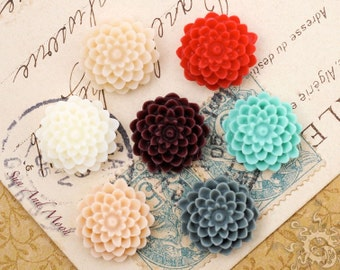 10pcs 15mm Resin Flower Cabochons - Mix and Match Your Choice of Colors - 15RFF7