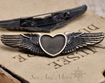 3 Vintage Style Heart and Wing Pinback Cabochon Settings  - Vintage Bronze Bezel Setting in Antique Brass Finish