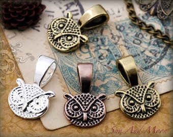 50 Sun And Moon Vintage Owl Bails - Mix And Match Antique Finish Glue On Jewelry Pendant Bails