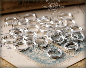 100 8mm Silver Plated Split Rings - 8SS