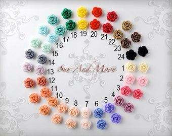 Resin Cabochons - 10pcs - 18mm Rose Flower Cabochons - Mix and Match Your Choice of Colorful Resin Flowers - 18RFR