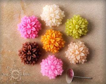 Resin Cabochons - 12mm - 10pcs Flower Cabochons - Chrysanthemum Mum - Flat Back - Mix and Match Your Own Colorful Resin Flowers