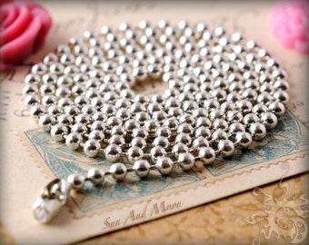 300 Silver Colored Ball Chain Necklace Silver Plated Necklace Ball Chain~ 2.4mm ~ Ball LInk ~Bulk Jewelry Chain WHOLESALE