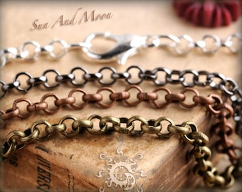 5 Necklaces - Rolo - Antique Chain Brass - Mix and Match Any - Antique Bronze Chain, Antique Copper Chain, Silver Chain, Gunmetal Chain