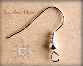 50 pcs of Silver Plated Fish Hook Earwire ~ French Fish Hooks ~ 17mm