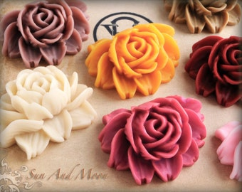 Large Resin Cabochons - 12pcs - Beautiful Large Rose Flower Cabochons - Mix and Match Your Choice of Colorful Resin Flowers - ARN