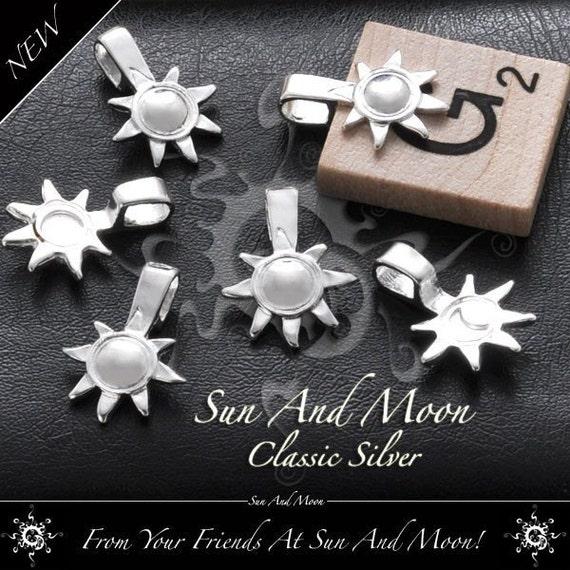 50 Medium Sun And Moon Bails - Medium Size Silver Plated Bails - MSBS