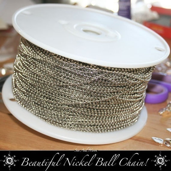 NEW - 1.5mm Fine Tiny Petite Diameter Nickel Colored Ball Chain Spool - 100 Foot Spool - Chain Fits All Aanraku Bails - Beautiful High Quality Metal Ball Chains with 100 Connectors - Perfect for Scrabble and Glass Tile Pendants, Bottle Caps and Dominos