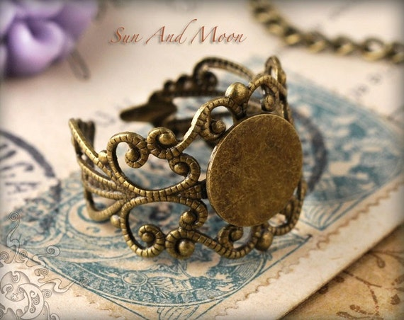 20 Fancy Vintage Design Filigree Ring Bases - Adjustable Rings - 10mm Pad Ring Blanks - Mix and Match - FRB