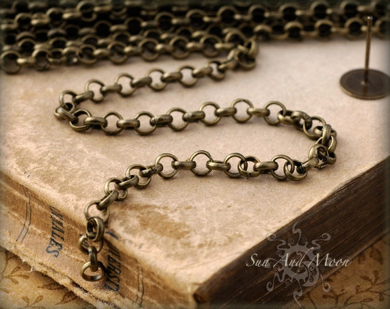 Vintage Style Brass Rolo Chain - Handmade Brass Chain - 10 Feet - Very High Quality - Perfect for Necklaces and Bracelets - Rollo