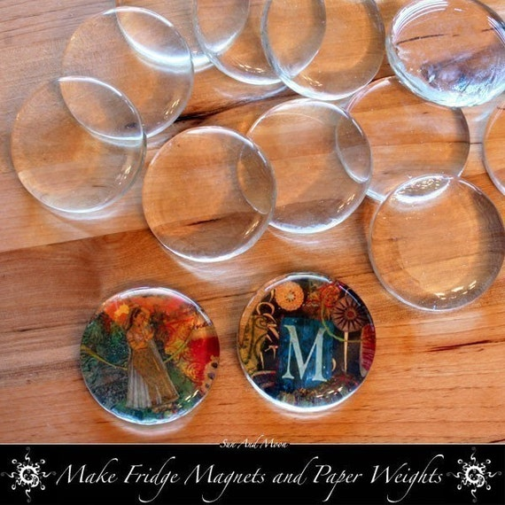 20 Extra Large Perfectly Round Clear Glass Circles with Flat Bottom - Perfect for Fridge Magnets and Crafts