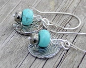 Fine Silver Textured Charm Turquoise Pyrite Rondelle Bead Wire Wrapped Sterling Silver Earrings