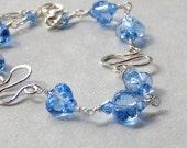 Lampwork Bead Swarovski Crystal Sterling Silver Wire Wrapped Bracelet - Tiny Blue Hearts
