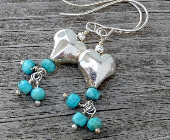 Sleeping Beauty Turquoise Rondelle Carved Sterling Silver Heart Earrings