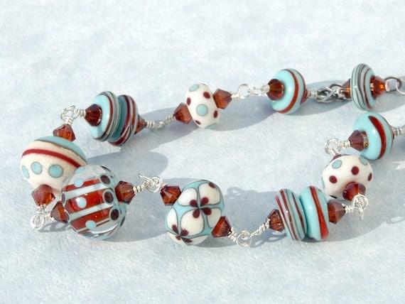 RESERVED FOR DENISE  Handmade Lampwork Bead Swarovski Crystal Sterling Silver Wire Wrapped Bracelet