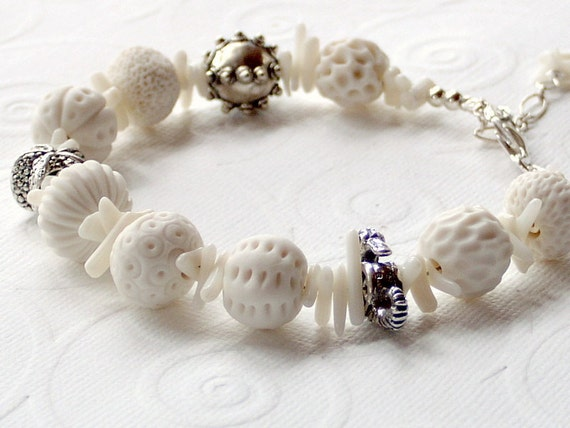 RESERVED FOR ALEX Sea Urchin Porcelain Round Beads White Bamboo Stick Coral Sterling Silver Bracelet
