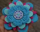 Petite Felt Flower brooch- pink and aqua