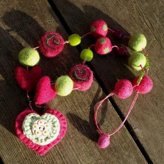Key Lime  Blush - Long Felt Bead Necklace